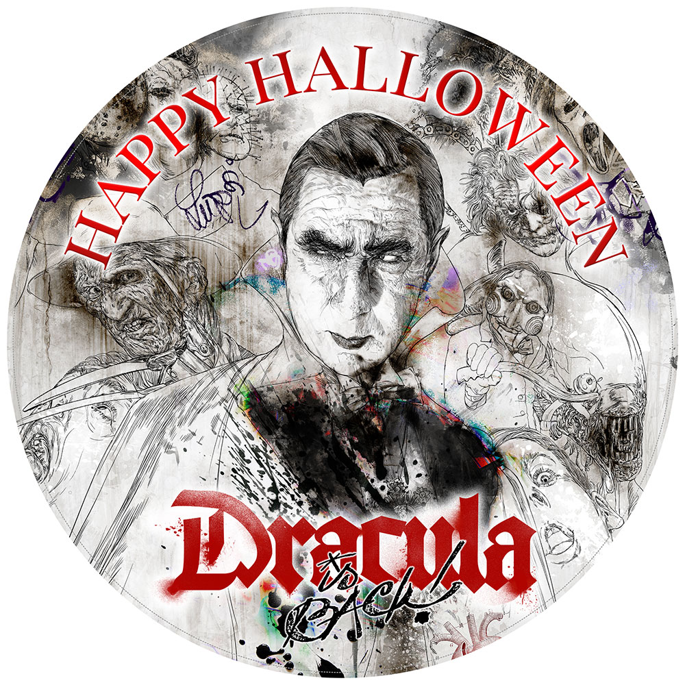 Dracula Halloween cake topper round