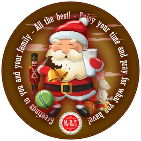 Smiley Santa Personalised Christmas Cake Topper image gold round