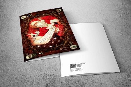 Santa Claus greeting cards - Santa with List
