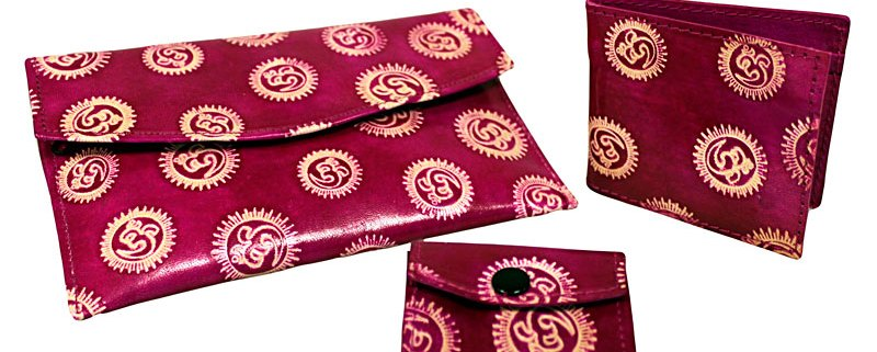 purse and wallet set with om pink