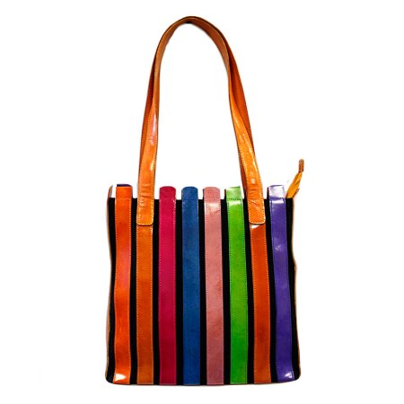 striped leather bag pastel colours
