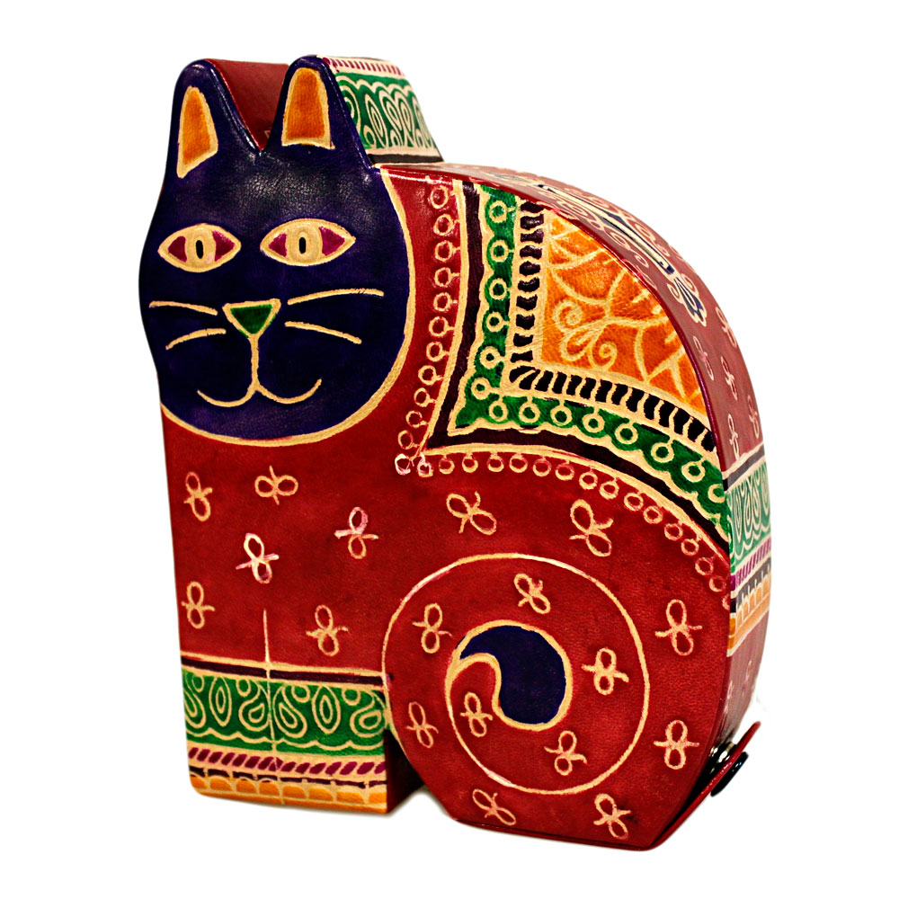 handmade large leather cat money box red
