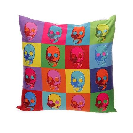 pop art skull cushion covers front