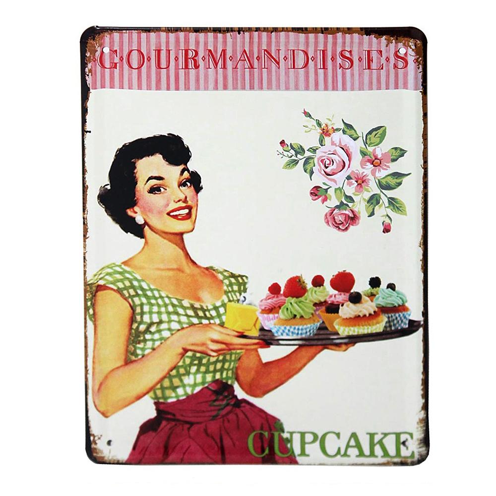 Vintage Metal Signs Cupcake Wall Art