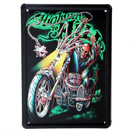 highway to hell metal plaque