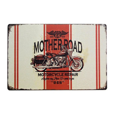 Vintage Motorcycle Signs Mother Road 66 Wall Decor