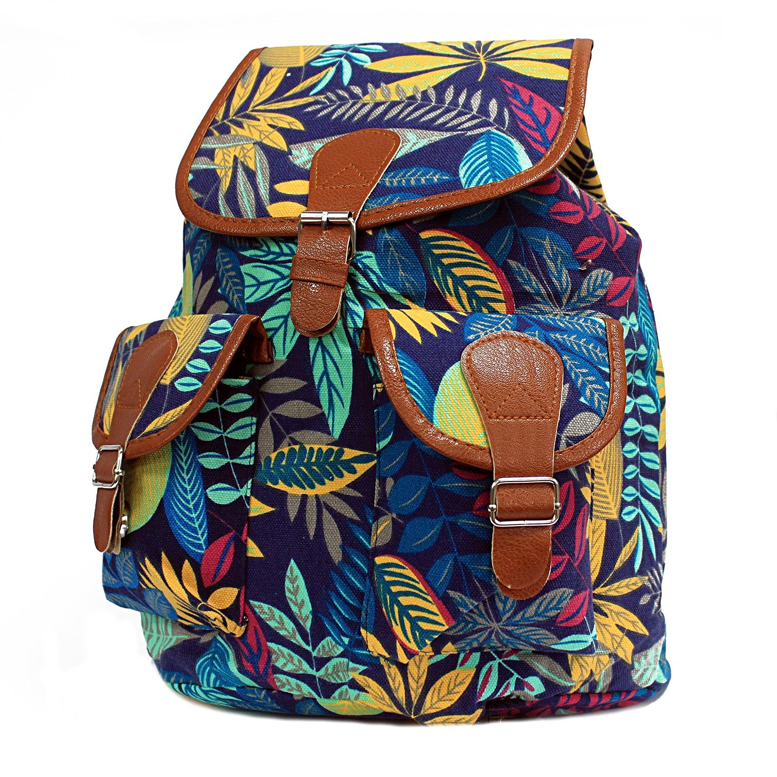 Jungle Backpack Bag Leaf Print Design Big Canvas Rucksack Blue Teal 7fdbc8f47091f