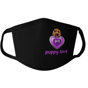 puppy love face mask, i love dogs face mask, puppy face mask, puppy heart face mask, dog face mask, dog mask, dog valentines day face mask, love puppies face mask