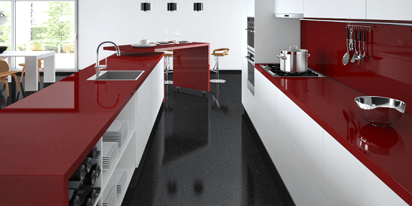 Caesarstone Kitchen Red