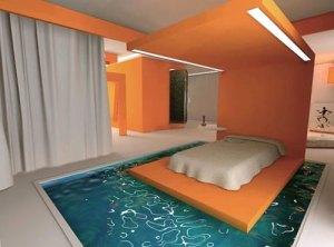 乾燥肌とはおさらば!?プールの上にあるベッド