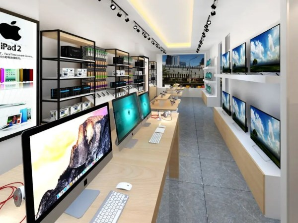 nature design mobile phone retail shop with computer ...