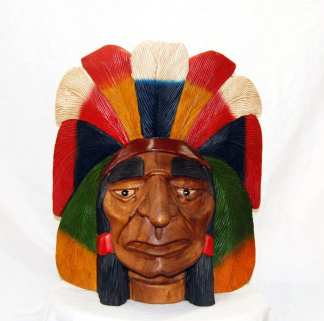 Small Indian Chief Carved Head