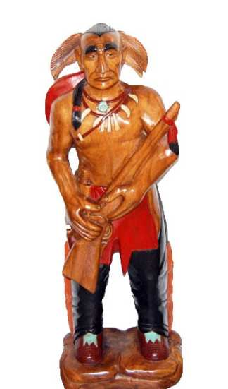 Wooden Indian Warrior Statue