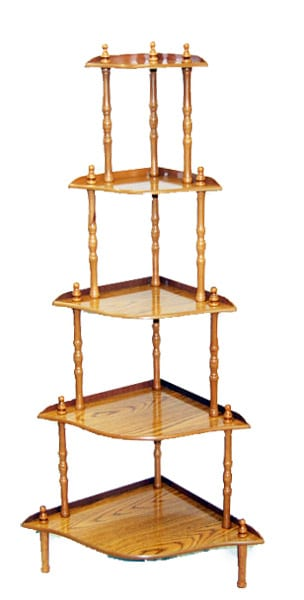 5 Tier Corner Rack Oak Finish