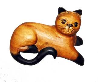 Carved Cat with Paw Hanging