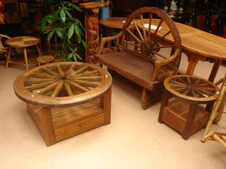 Wagon Wheel Coffee Table Glass