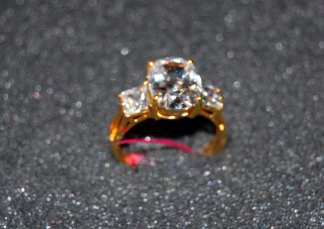 Gold Dipped Ring w CZ Center