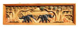 Hand Carved Elephant Scene-9