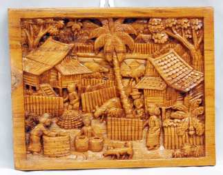 Wood Carving Village Scene