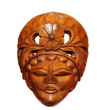 Wood Mask Lady Flower Head