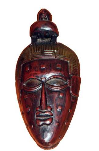 Dark Red Wooden Mask