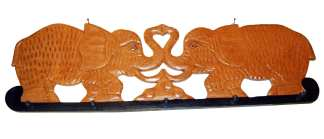 Two Elephant Wood Coat Hanger