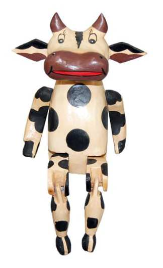 Wooden Cow Puppet