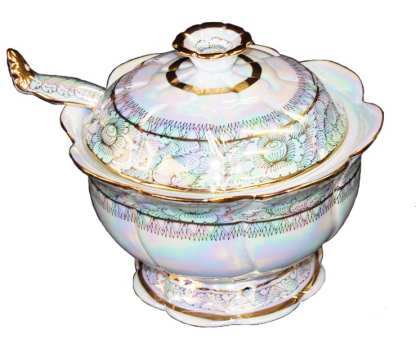 Soup Tureen with lid & spoon-2