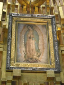 Image of Our Lady of Guadaplupe on St. Juan Diego's Tilma displayed in México City
