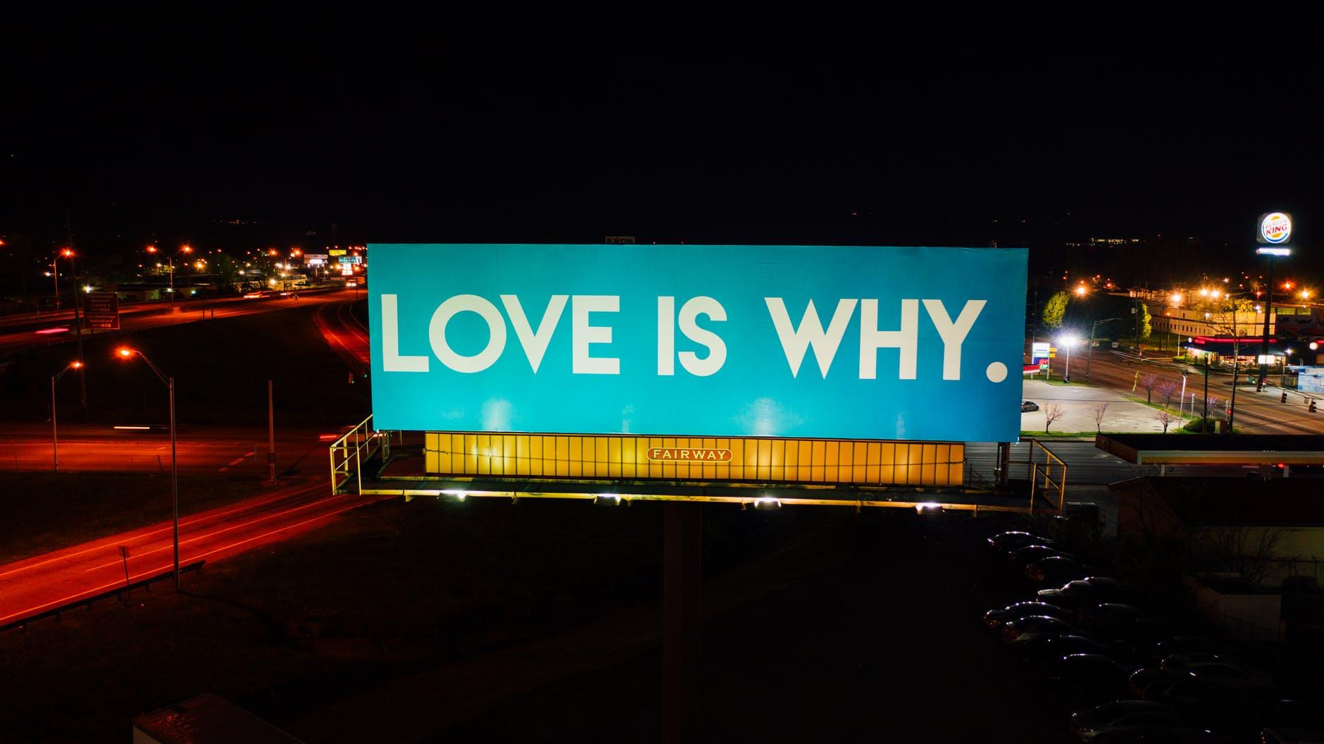 big glowing billboard in city center