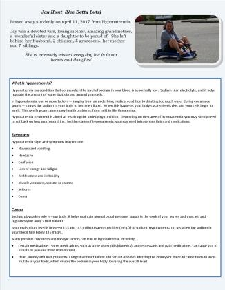 Jay Hunt Hyponatremia Informational Flyer pg 1 of 2