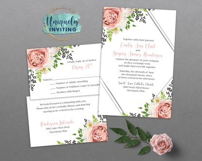 Roses and Berries Invitation Set