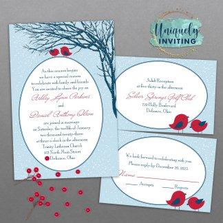 Winter Lovebirds Invitation Set