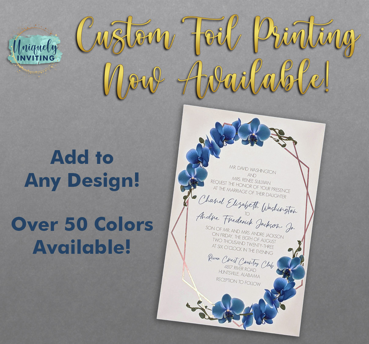 Custom foil printing now available! Add to any design! Over 50 colors to choose from!