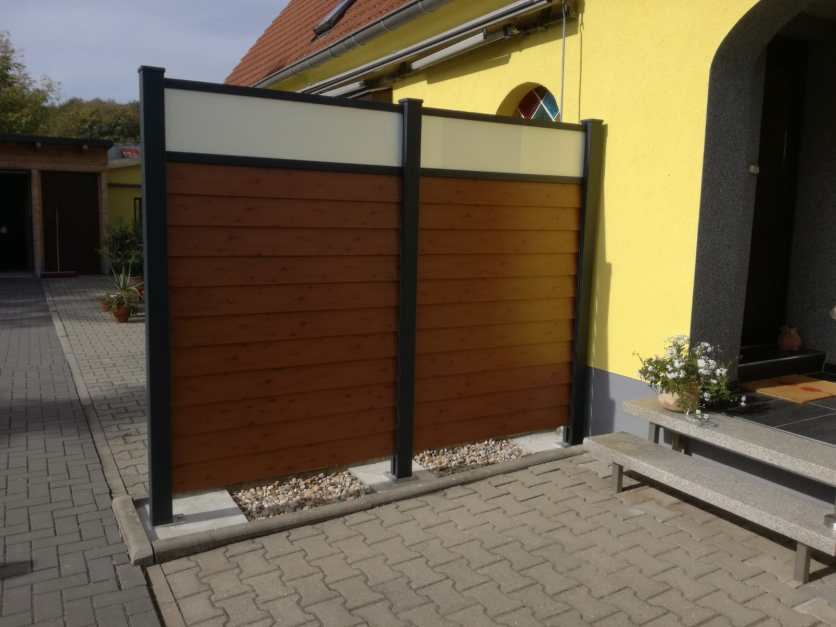 Privacy fence louvre wood imitation and frosted glass