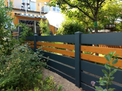 fence flat dark grey and wood imitation with spacer 2