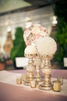 Champagne Flowers and Pearl Gold Centerpieces – shared on Something Turquoise