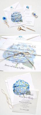 Custom Wedding Invitations with Hydrangea Flowers – shared on Mospens Studio