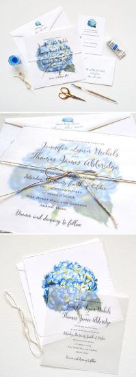 Custom Wedding Invitations with Hydrangea Flowers – shared on Mospens Studio