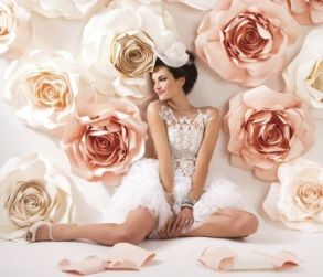 Oversized Paper Roses Backdrop in White and Rose Quartz – shared by Modern Luxury Brides California