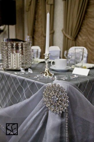 Pin Tuck Silver Tablecloth with Crystal Accents – shared by CV Linens