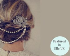 Vintage Style Hair Draping with Pearls and Rhinestones – sold by Jules Bridal Jewelry