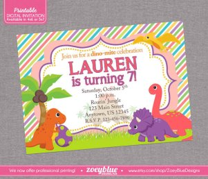 Digital Girl Dinosaur Birthday Party Invitation in Green and Orange – created and sold by ZoeyBlueDesigns on Etsy