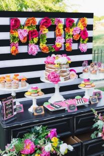"""Vibrant Flowers """"MOM"""" Food Buffet with Black and White Stripes – spotted on Pinterest"""