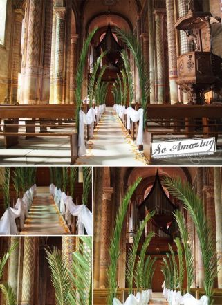 Tall Green Tropical Foliage Wedding Aisle Décor – spotted on Pinterest