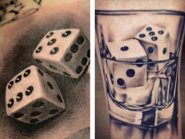 Татуировка игральные кости - значение, эскизы тату и фото