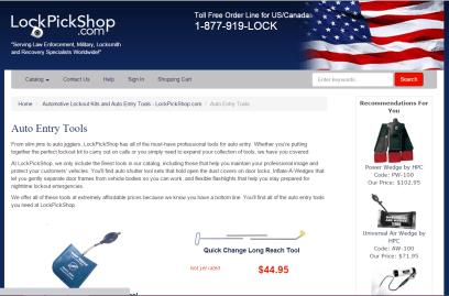 Lock Pick Shop Product Descriptions