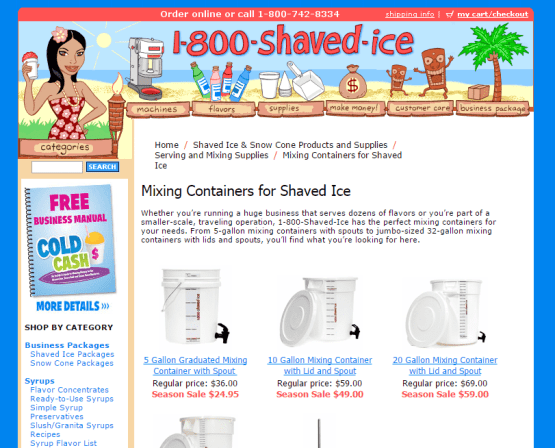1-800-ShavedIce Product Descriptions