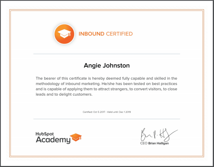 Angie Papple Johnston - Hubspot Inbound Certification