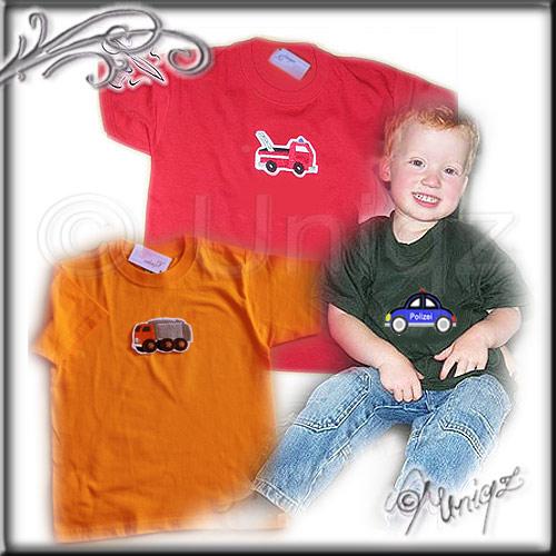 Kinder T-Shirt Feuerwehr, Polizei, Müllauto, Rennwagen, Flugzeug